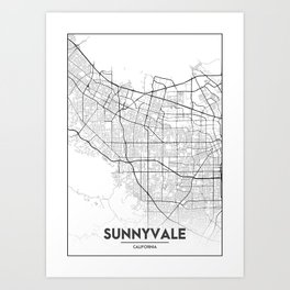 Minimal City Maps - Map Of Sunnyvale, California, United States Art Print