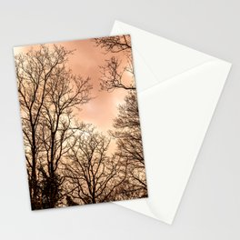 The haunting woods, orange and black Stationery Cards