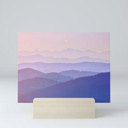 Purple Sunset Rolling Foggy Hills Landscape Photograph Mini Art Print