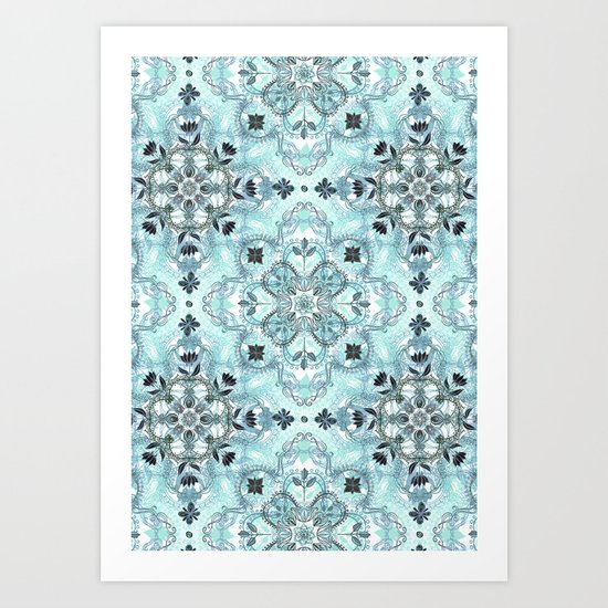 Soft Mint & Teal Detailed Lace Doodle Pattern Art Print