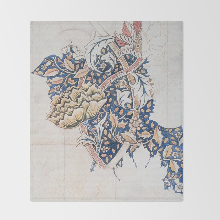 Design for Windrush by William Morris 1883 // Romanticism Blue Red Yellow Color Filled Floral Design Throw Blanket
