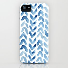 Blue Chevron Watercolour iPhone Case