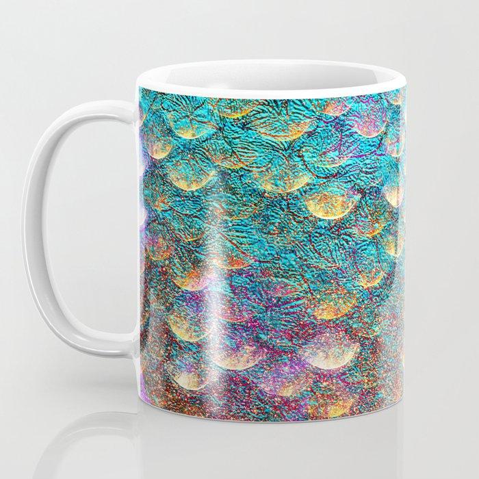 Aqua and Gold Mermaid Scales Coffee Mug