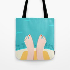 Feet on Beach Tote Bag