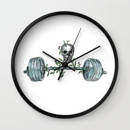 Skull Lifting Barbell Thistle Tattoo Wall Clock