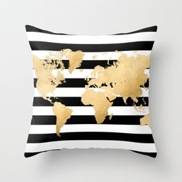 Gold world map black and white stripes Throw Pillow