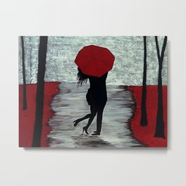 Red Autumn Rain Romance Metal Print
