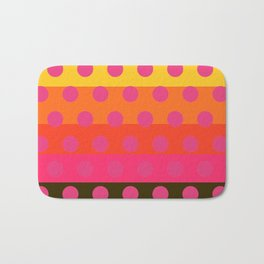 Earth and Summer Sky - Color Strips with Pink Dots Bath Mat