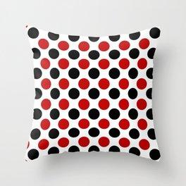 RED BLACK CIRCLE Throw Pillow