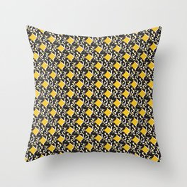 Yellow and Black Trendy Abstract Squared Shapes Throw Pillow