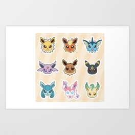 Colorful Pockt Friends Art Print