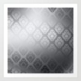 """Neutral gray Damask Pattern"" Art Print"