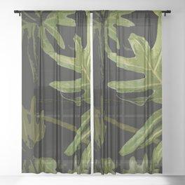 Leaves #green#leaves Sheer Curtain