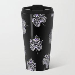 Ultra-Violet and Black Maple Leaf Pattern Travel Mug