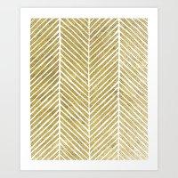 gold foil Art Prints featuring Gold Foil Chevron by Berty Bob