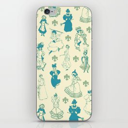 Vintage Ladies BLUE BEIGE / 18th and 19th century illustrations of women iPhone Skin