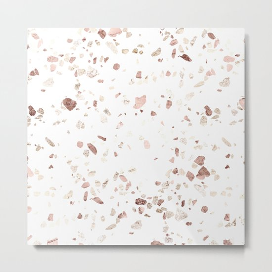 Rose Gold on White Terrazzo Metal Print