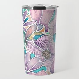 Blossoming - lilac, mint & aqua  Travel Mug
