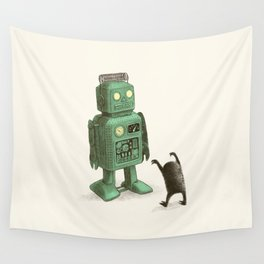 Robot vs Alien Wall Tapestry