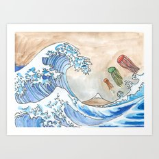 Hokusai's Wave vs. The Electric Jellyfish Art Print