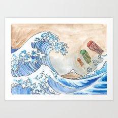 Hokusai's Wave vs. The Electric Jellyfish Art Print