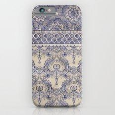 Vintage Wallpaper - hand drawn patterns in navy blue & cream iPhone 6 Slim Case
