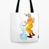 aang Tote Bags featuring Aang And Momo by Van's Scribbles