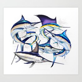 Pacific Billfish Slam Marlins,Sailfish,Swordfish,Spearfish Art Print