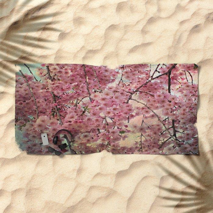 Raining Cherry Blossoms - Painterly Abstract Beach Towel