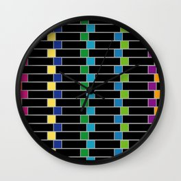 Colorful squares composition on black- multicolor gifts Wall Clock