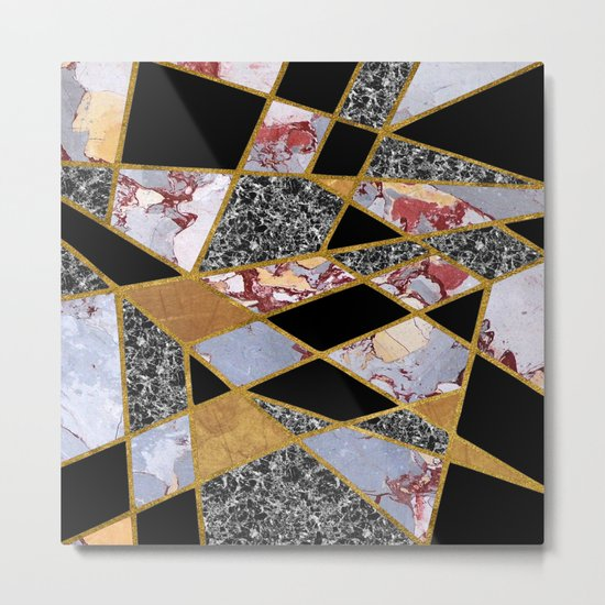 Abstract #486 Shards of Onyx, Marble & Gold Metal Print
