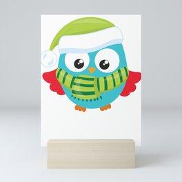 Christmas Owl Winter Scarf Mini Art Print