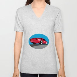 American Muscle Car Oval Retro Unisex V-Neck