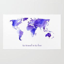 to travel is to live || watercolor map Rug