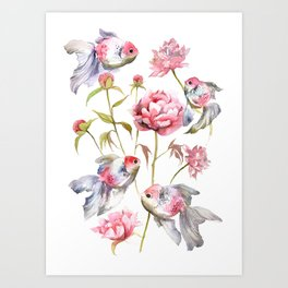 Blush Pink Peony Flowers with Fish Design Art Print