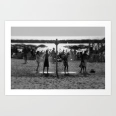 Beach shower Art Print