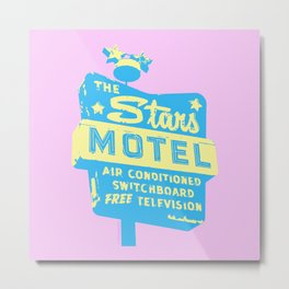 Seeing Stars ... Motel ... (Pink Background) Metal Print