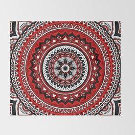 Red and Black Mandala Throw Blanket