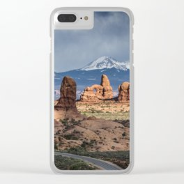 Storms over the La Sal Mountains and Turret Arch in Arches National Park, Utah Clear iPhone Case