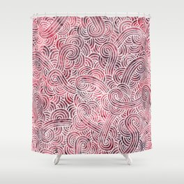 Burgundy red and white swirls doodles Shower Curtain