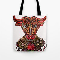 taurus Tote Bags featuring Taurus  by Felicia Cirstea