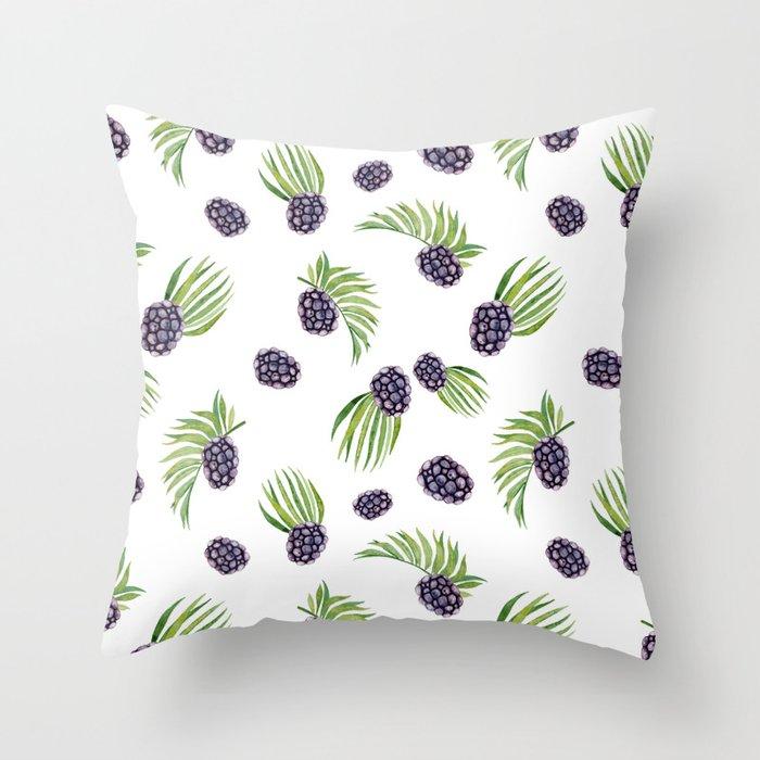 Hand painted black green watercolor fruity blackberries Throw Pillow