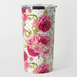 Pink Roses Pattern 01 Travel Mug