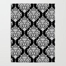 Black Monochrome Damask Pattern Poster