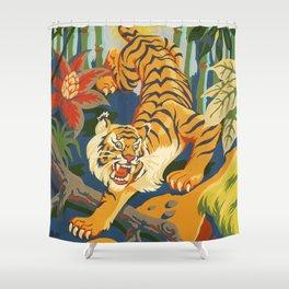 Tiger Slinking Through Jungle illustration - retro style Shower Curtain