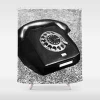telephone Shower Curtains featuring telephone by Falko Follert Art-FF77