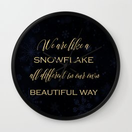 We are like a snowflake - gold glitter Typography on dark background Wall Clock