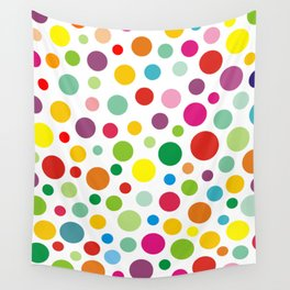 Rainbow Colorful polka dots on white Wall Tapestry