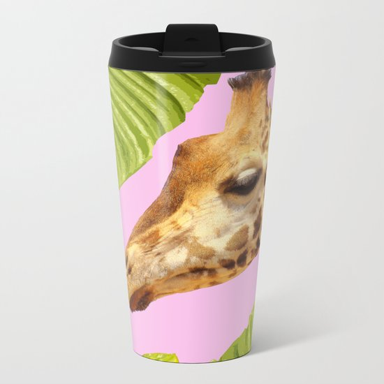 Giraffe with green leaves on a pink background Metal Travel Mug