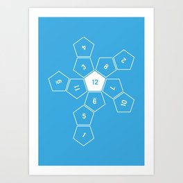 Blue Unrolled D12 Art Print
